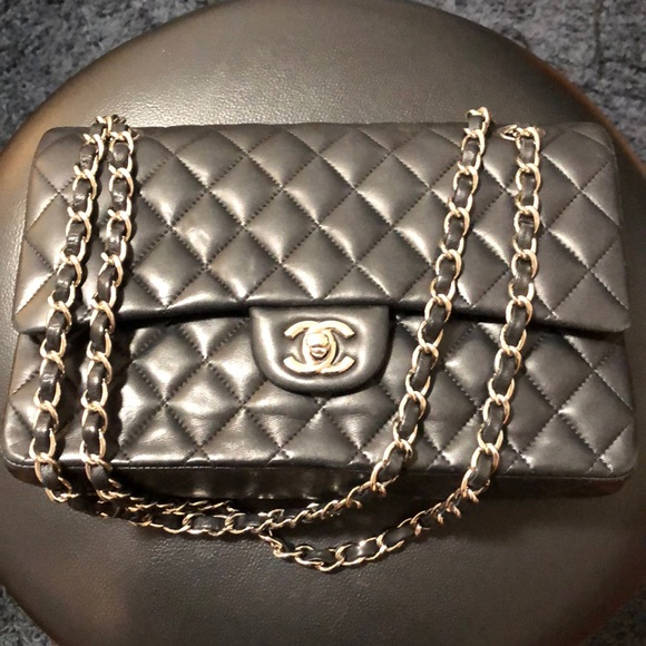 078dc72e00bd Bags | Chanel Black Silver Quilted Lambskin Classic Flap | Poshmark